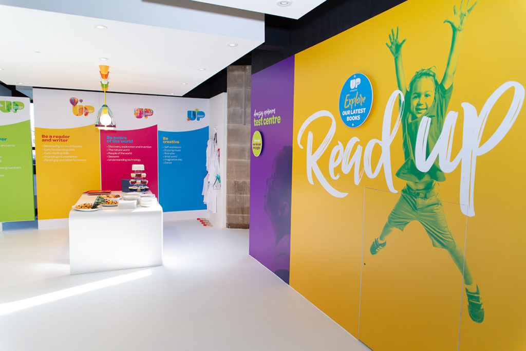 Busy Bees Nursery, bold and brightly coloured walls