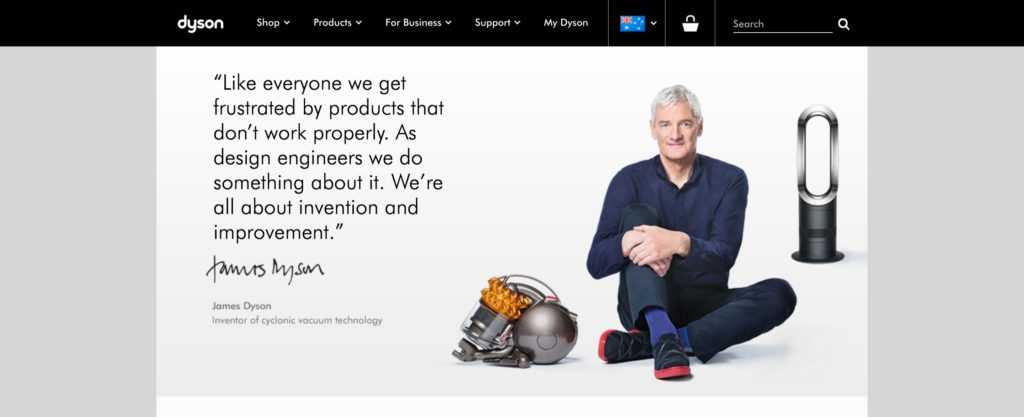 screenshot of dyson homepage
