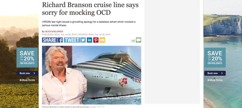 screenshot of Richard Branson headline