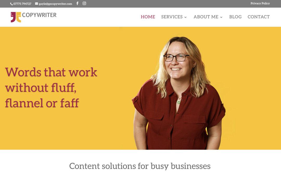 website design for GE Copywriter